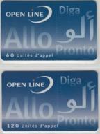 Lot De 2 Cartes Prépayées Différentes - OPEN LINE DIGA PRONTO   -  Prépaid  - (valeur Et/ou Verso  Différent) - Frankrijk