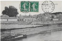 Beaucaire  : Vue D'Ensemble - Canal  Péniche à Vapeur Et La Ville  ( 1911 ) - Beaucaire