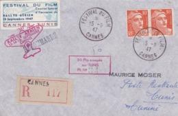 Lettre Festival Du Film Cannes Vers Tunis Retour 1947 - Poste Aérienne