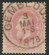 """émission 1869 - N°34 Obl Simple Cercle """"Gembloux"""". TB - 1869-1883 Léopold II"""