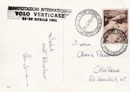 Carte Par Hélicoptère Vol Verticale Milano-Aéra1951 - Trieste
