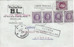 Cp Expres Bruxellesi Vers Couvin  Fevrier 1920 - Stamped Stationery