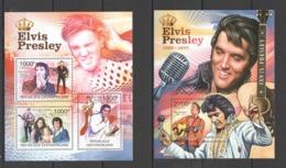 CA1002 2011 CENTRAL AFRICA CENTRAFRICAINE MUSIC FAMOUS PEOPLE ELVIS PRESLEY 1KB+1BL MNH - Elvis Presley