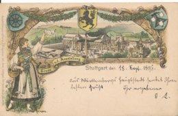 Entier Postal 1896 Gruss Ausstellung Stuttgart Allemagne Circulée 18 Septembre 1896 Pour La France Sarreguemines - Deutschland