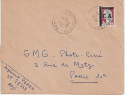 Algérie Lettre De 1962 Avec Affranchissement Marianne Decaris Surchagée EA Oblitération Alger - Algeria (1962-...)