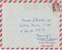 Algérie Lettre De 1962 Avec Affranchissement Marianne Decaris Surchagée EA Oblitération Constantine - Algeria (1962-...)