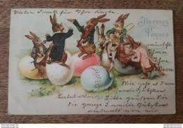 Joyeuses Paques - Splendide Carte - Lapins Humanisés, Chef D'Orchestre, Violon, Banjo, Piano, Tuba, Trompette, Oeufs - Easter