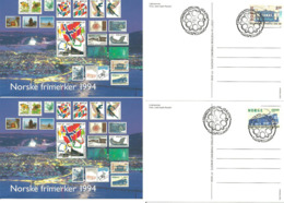 Norway Norge 1994 A Century Of Electric Trams Mi 1163-1164 Card Cancelled Stamps Day, First Day Cancellation - Cartas