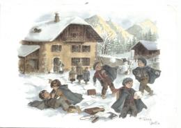 """CPM Peinture """"La Vie En Montagne"""" Aquarelle De A. TERRA VECCHIA Enfants Dans La Neige - Paintings"""