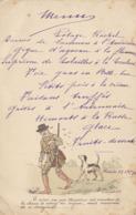 Menu De Chasse à Rivière 1893 Chasseur Chien Pour Baron Coppens Alfred - Menus
