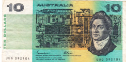 "AUSTRALIA 10 DOLLARS ND 1985 VG-F P-45e ""free Shipping Via Registered Air Mail"" - Emisiones Gubernamentales Decimales 1966-..."