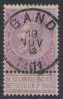 """Fine Barbe - N°67 Obl Simple Cercle """"Gand"""" + Croix De St-André Dans Le Dateur. Superbe - 1893-1900 Barbas Cortas"""
