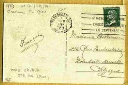 "1929 Rare SAVAVA - STRASBOURG GARE ""A SA FOIRE EXPOSITION ANNUELLE EN SEPTEMBRE "" Sur Carte Postale - Mechanical Postmarks (Advertisement)"
