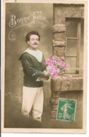 L100d341 - Bonne Fête - Marin Avec Un Beau Bouquet De Roses - - Other