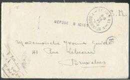 Enveloppe En SM (avec Contenu) Obl. Sc TOURNAI 1 Du 18-VI-1919 + Griffe DEPOSE AU GUICHET Vers Bruxelles - 14729 - Postmark Collection