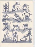 Der Skifahrer - Sign. Dr.F.Schuberth, Wiener Karikaturist      (A-125-160923) - Illustratori & Fotografie