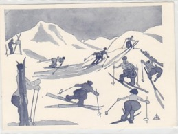 Die Skifahrer - Sign. Dr.F.Schuberth, Wiener Karikaturist      (A-125-160923) - Ilustradores & Fotógrafos