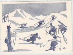Die Skifahrer - Sign. Dr.F.Schuberth, Wiener Karikaturist      (A-125-160923) - Illustratori & Fotografie