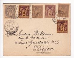 Lettre 1902 Vesoul Haute Saône Pour Dijon Côte D'Or Type Sage + Type Blanc - 1898-1900 Sage (Type III)