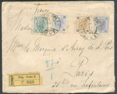 Affr. à 75 Heller En Recommandé De PRAGUE 13/12 1901 Vers Paris (Marquise D'Auray) - 14733 - Briefe U. Dokumente