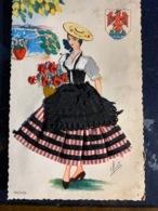 Cartolina Costumi Regionali  Con Vestito Stoffa E Decorazione Ricamata A Mano  - Rara Folklore Nizza - Europa