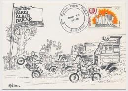 SENEGAL => Carte Illustrée Mohiss - Arrivée 8eme Rallye Paris Dakar - 22/01/1988 - Senegal (1960-...)
