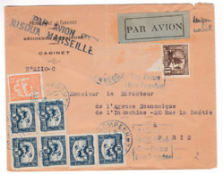 M586 Indochine Lettre Par Avion PHNOMPENH CAMBODGE En 1931  Par Avion Jusqu'à Marseille - Cartas