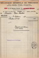 VP16.019 - Facture - Mécanique Générale De Précision EYRIGNOUX à PARIS Rue De Mouzala - France