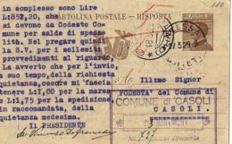 INTERO REGNO MICHETTI 30 + 30 CENT FASCI RISPOSTA 1929 ATESSA X CASOLI - Stamped Stationery