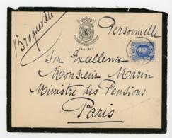 """Yt N° 257 SUR DEVANT DE LETTRE DU CABINET DU MINISTÈRE DE LA DÉFENSE NATIONALE OBL. """"BRUSSEL 1928 """" POUR LE MINISTRE DES - Lettres & Documents"""