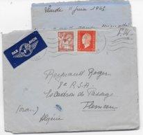 IRIS SUPERBE VARIETE IMPRESSION DEFECTEUSE ! + DULAC - 1945 - LETTRE FM Par AVION De MOULINS => TLEMCEN (ALGERIE) - 1939-44 Iris