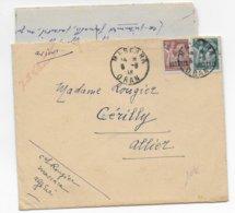 IRIS - 1946 - LETTRE FM Par AVION De MASCARA (ALGERIE) => CERILLY - 1939-44 Iris