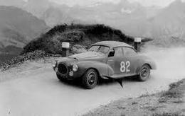 Liège-Rome-Liège Rally 1955  -  Peugeot 203 Speciale  -  Pilote: Paul Guiraud  -  15x10cms PHOTO - Rally