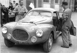 Liège-Rome-Liège Rally 1956  -  Peugeot 203 Speciale  -  Pilote: Paul Guiraud -  15x10cms PHOTO - Rally