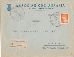 CIVITAVECCHIA / ROMA 26-2-1940 RACCOMANDATA IMPERIALE LIRE 1,75 - Marcophilie
