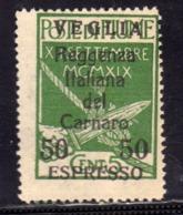 VEGLIA 1920 VARIETÀ VARIETY REGGENZA ITALIANA DEL CARNARO ESPRESSO SPECIAL DELIVERY CENT. 50 SU 5 C MNH - 8. WW I Occupation