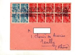 Lettre  Flamme Nice Soleil Et Joie Sur Mecure Carré Bloc - Poststempel (Briefe)