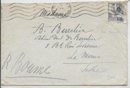 DEC 1944 - YT 640 COQ D'ALGER RARE SEUL SUR LETTRE De TOULOUSE => LE MANS - COTE = 135 EUR. - 1944 Coq Et Marianne D'Alger
