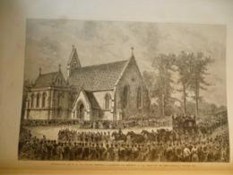 Funérailles De S A Le Prince Impérial , Arrivée Du Cortége A La Chapelle De Chislehurst , Gravure De 1879 - Documents Historiques