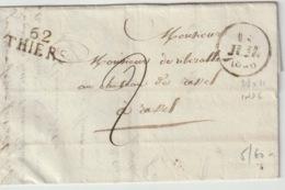 PUY DE DOME - 62 Thiers  - Lettre Pour Ravel  -PD 28x11 - Tm2 N - 1828 - Postmark Collection (Covers)