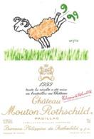 """ÉTIQUETTE DE VIN """"CHÂTEAU MOUTON ROTHSCHILD 1999"""" - ORIGINALE - Bordeaux"""