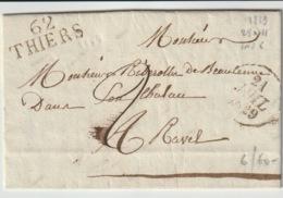 PUY DE DOME - 62 Thiers  - Lettre Pour Ravel  -PD 28x11 - Tm2 N - 1829 - Postmark Collection (Covers)