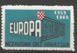 HR 1969 EUROPA CEPT, CROATIA HRVATSKA- EMISSONE IN EXILIO, 1 X 1v, MNH - Croatia