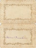 Menu Vers 1870 Pour Baronne De Coppens Gaufré - Menükarten