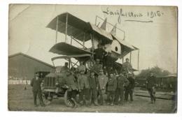 Carte Photo - L'Aigle (61) Aout 1916 - Camion R.E.O Transportant Un Avion Biplan Démonté à Proximité D'une Gare (animé) - War 1914-18