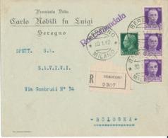 SEREGNO / BOLOGNA 30-1-1942  RACCOMANDATA COMMERCIALE PUBBLICITARIA   IMPERIALE CENT 25 + CENT 50 X 3 - 1900-44 Victor Emmanuel III