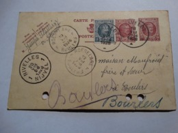 COB 193 - 5c Houyoux Sur Carte Postale à Partir De Stavelot En Passant Par Nivelles Et Roulers Vers Bourlers (Chimay). - Ambulants