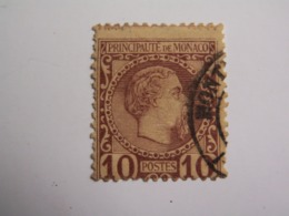 TP MONACO  1883 / CHARLES  III  -  10 C. Lilas Brun Sur Jaune  - Oblitéré  -  Décentré Signature DUPUIS Bord Supèrieur - Monaco