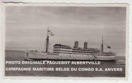 PHOTO ORIGINALE PAQUEBOT ALBERTVILLE COMPAGNIE MARITIME BELGE DU CONGO S.A. ANVERS - Paquebots