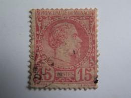 TP MONACO  1883 / CHARLES  III  -  15 C. ROSE  - Oblitéré  - - Monaco